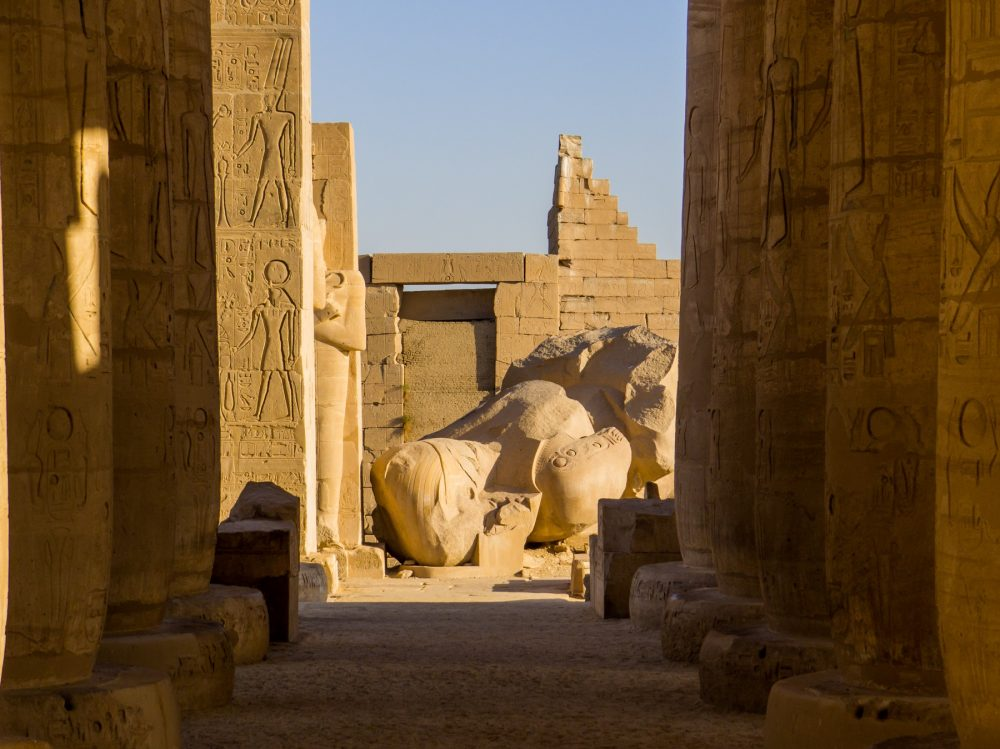 A view of the massive statue of Ramses II in the Ramesseum Temple in Luxor. Shutterstock.