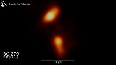An image of the relativistic jet shooting out of a Black Hole. Image Credit: EHT / YouTube.