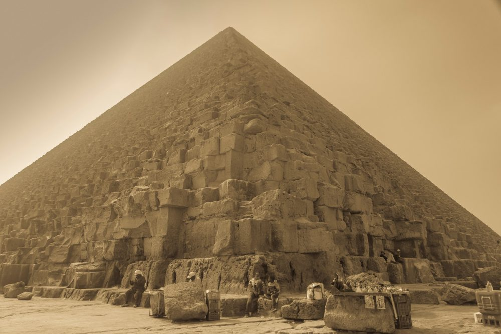A view of the Great Pyramid at Giza from its base. Shutterstock.