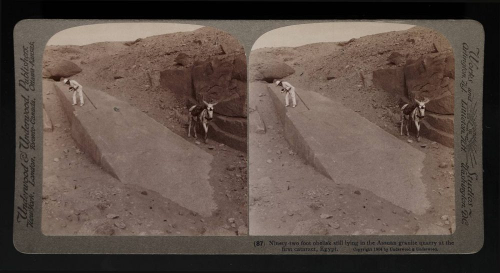 A 1904 stereograph of the obelisk, before sand was cleared away. Image Credit: Wikimedia Commons.