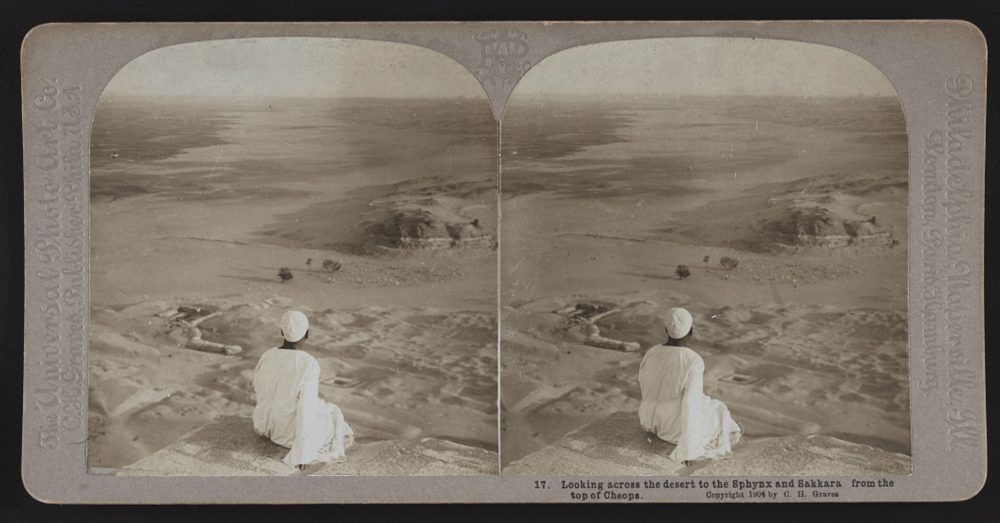 Looking across the desert to the Sphinx and Saqqara from the top of the Great Pyramid of Giza. Image Credit: Graves, C. H. (Carleton H.), -1943. Library of Congress.