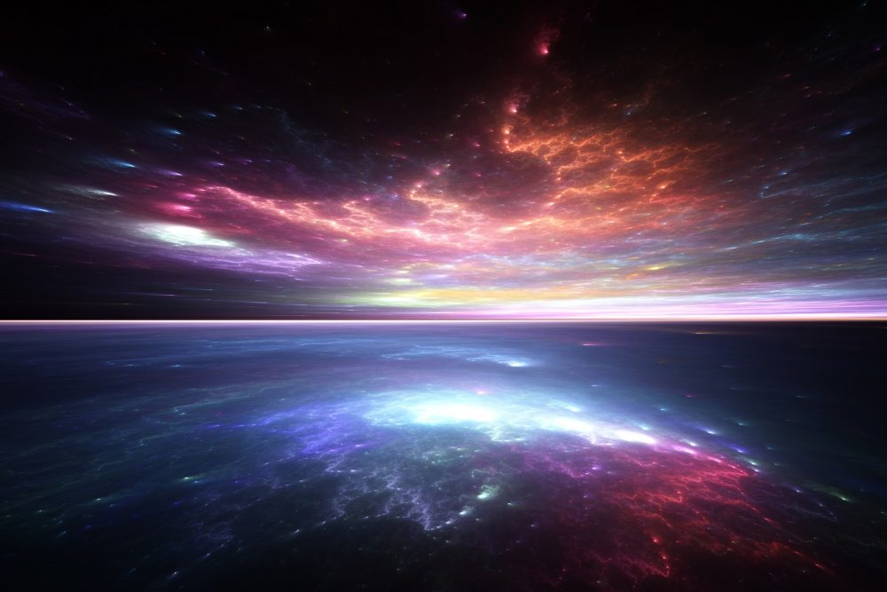Abstract artist's illustration of a distant world's sky and surface. Shutterstock.