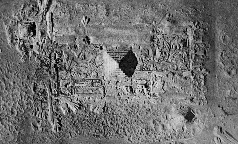 Aerial view of the Step Pyramid complex and the Saqqara Royal Necropolis in Egypt.