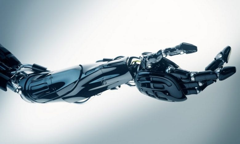 An artist's illustration of a robot hand. Shutterstock.