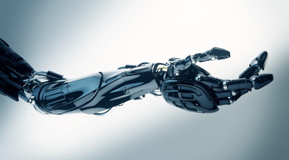 An artist's illustration of a robot hand. Shutterstock.