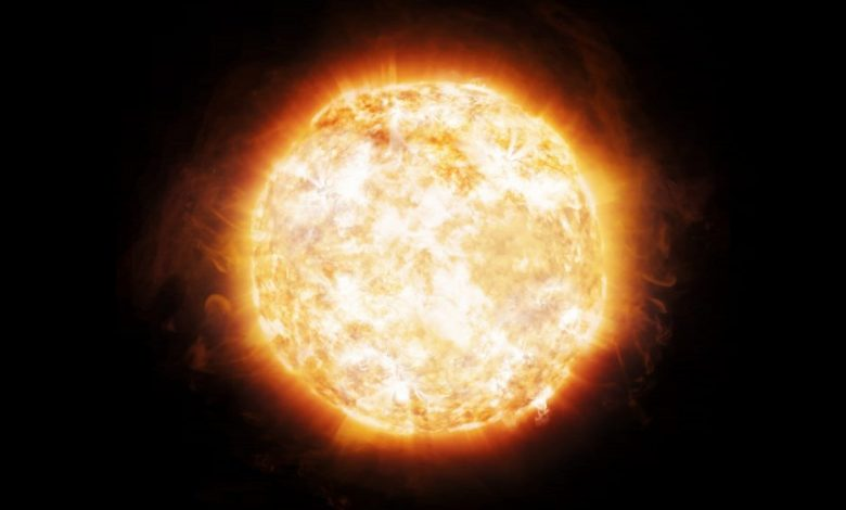 An artist's rendering of a bright Sun. Shutterstock.