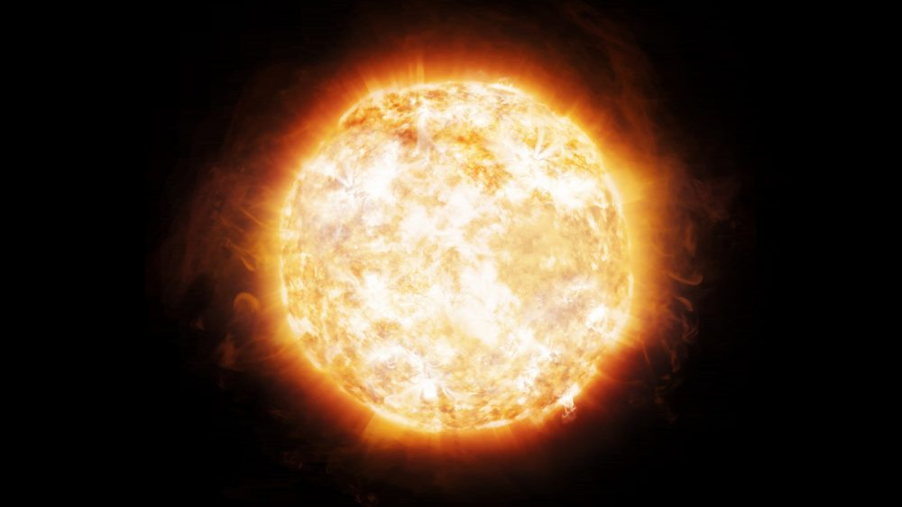 An artist's rendering of a bright Sun. Shutterstock.