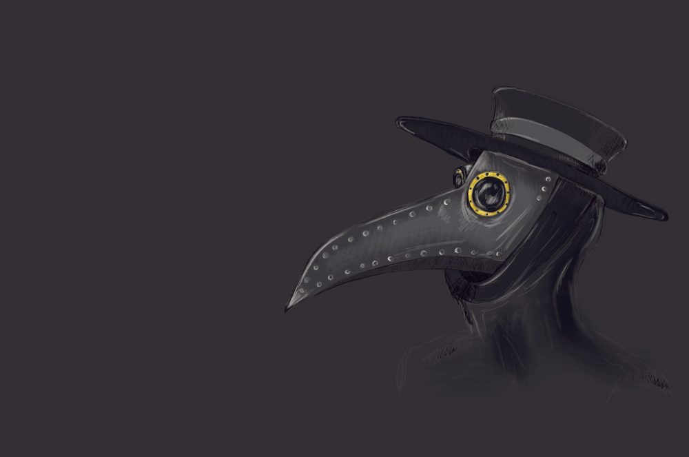 An artists rendering of a plague doctor mask. Shutterstock.