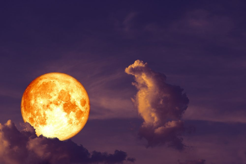 An image of a super moon among the clouds. Artist's rendering. Shutterstock.