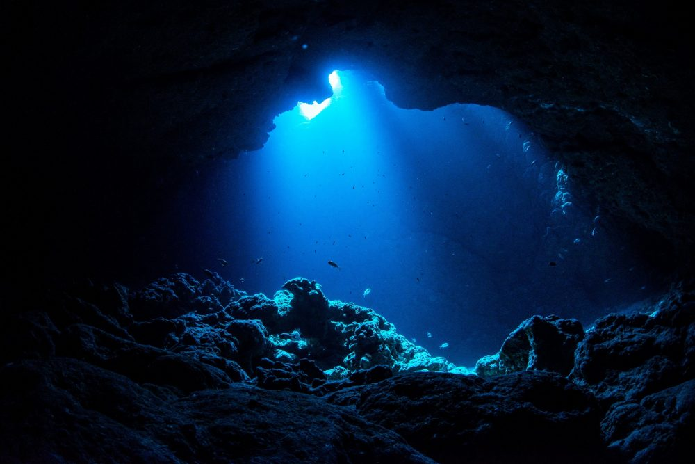An image of an underwater cave. Shutterstock.
