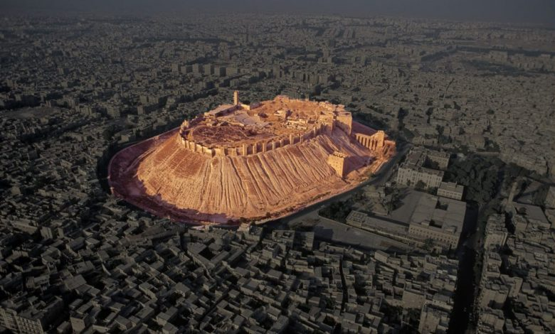 An image of the ancient Citadel of Aleppo.