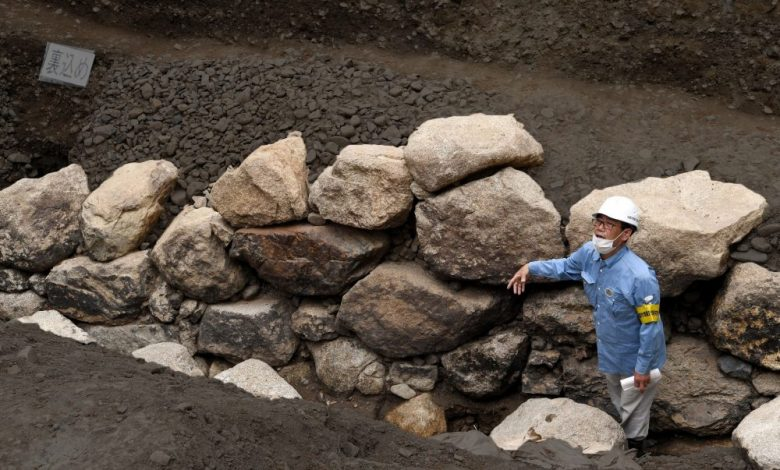 An ancient fragment of the castle wall. Image Credit: The Asashi Shimbun.