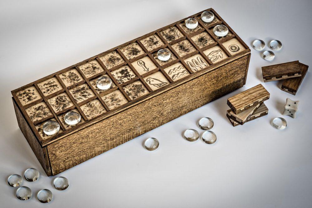 A modern replica of the ancient Egyptian board game Senet. Shutterstock.