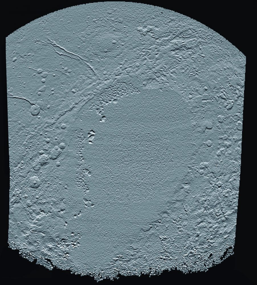 "An elevation map of Pluto's sunken heart. Seen in the image are angular blocks of water ice located along the western edge of the so-called Sputnik Planitium are seen ""floating"" in the bright deposits of much softer, denser solid nitrogen. Image Credit: New Horizon's Spacecraft."