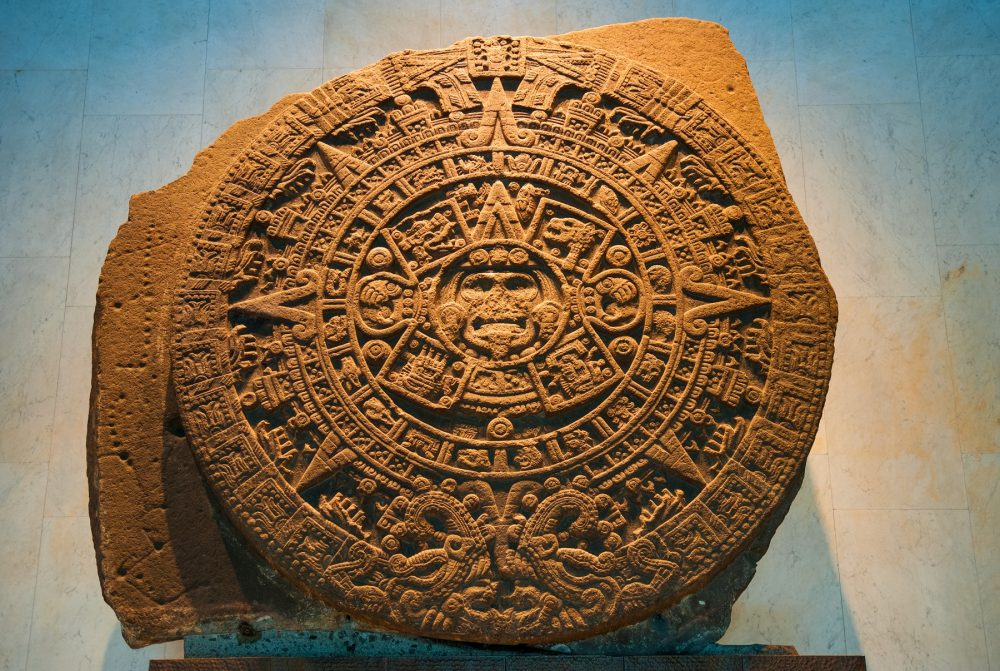 A front view of the Aztec Sun Stone, often mistaken for a calendar. Its actual purpose remains debated. Shutterstock.