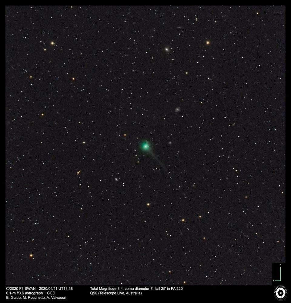 An image showing Comet C/2020 F8 SWAN. This image was captured on April 11, 2020. Image Credit: E. Guido, M. Rocchetto, A. Valvasori.