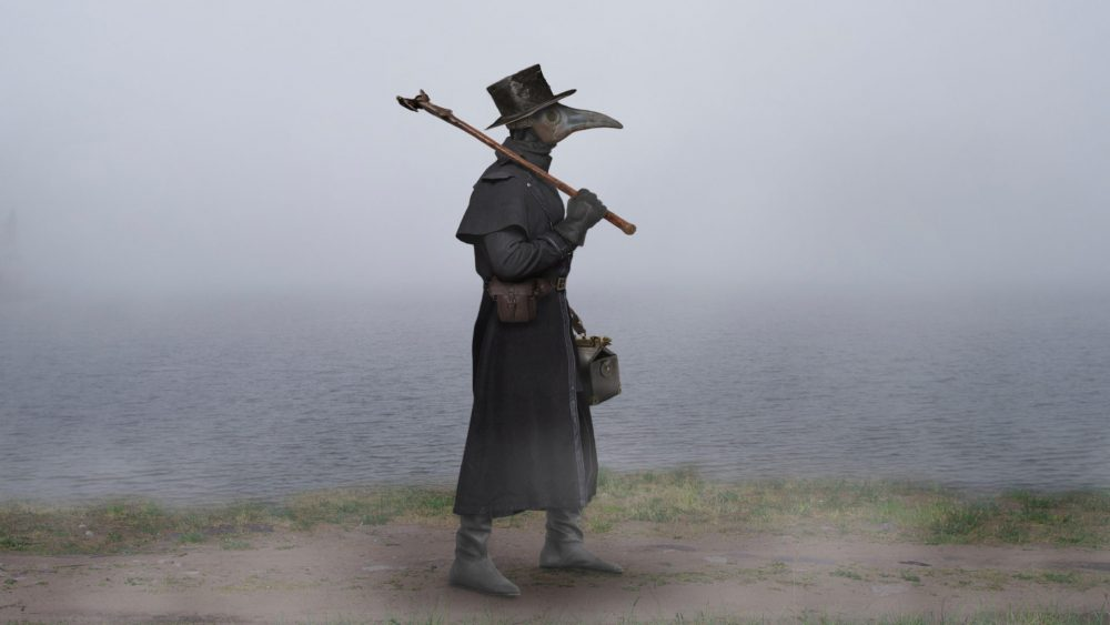 An illustration of a creepy Black Plague Doctor's outfit.