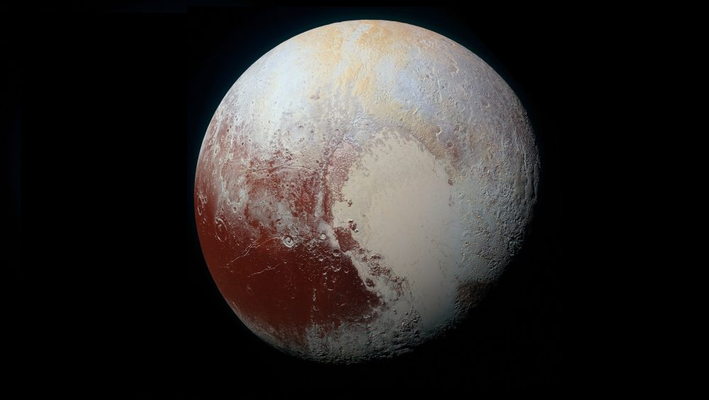 High-resolution MVIC image of Pluto in enhanced color to bring out differences in surface composition. Image Credit: NASA / Wikimedia Commons.