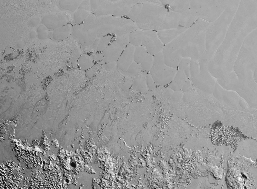 A New Horizon image of Floating Hills on Pluto's Sputnik Planum. Image Credit: New Horizons.