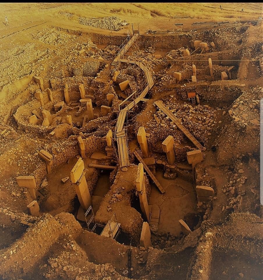 An aerial photograph of the stone circles at Göbekli Tepe.