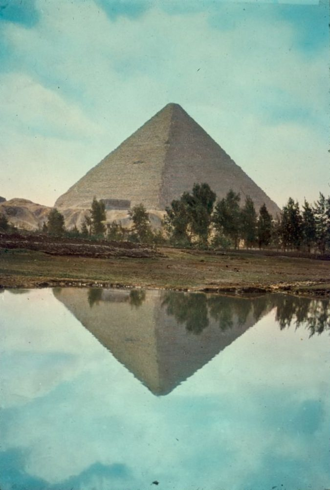Great Pyramid of Cheops vividly reflected in Nile overflow. Image Credit: Matson Photo Service / Library of Congress. Image taken between 1950 and 1977.