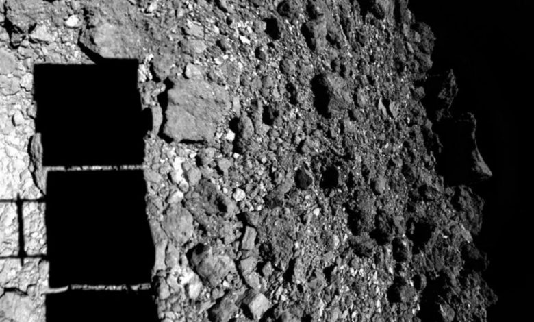 An image of Hayabusa2 landing on asteroid Ryugu. Image Credit: JAXA.