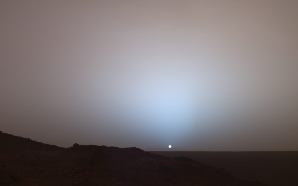 An image of a sunset as seen from the surface of Mars. Image Credit: Spirit Mars rover / NASA/JPL/Texas A&M/Cornell.