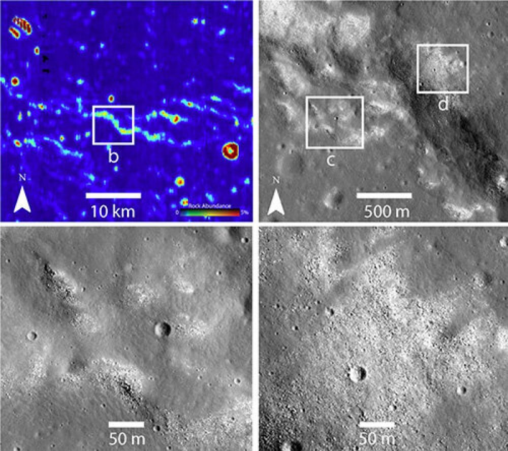 Infrared (upper left) and other images from NASA's Lunar Reconnaissance Orbiter revealed strange bare spots where the Moon's ubiquitous dust is missing. The spots suggest an active tectonic process. Image Credit: Brown University.