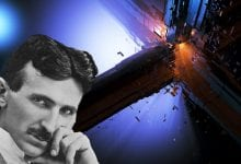 An artists rendering of Nikola Tesla and his Death Ray device. Shutterstock / Curiosmos.