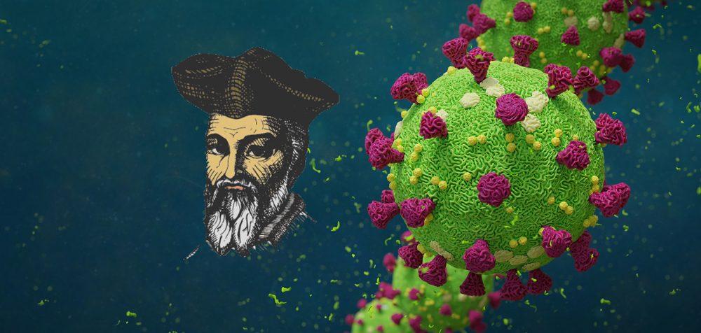 An artist's illustration of the COVID-19 virus and Nostradamus. Shutterstock.