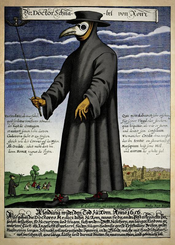 Copper engraving of Doctor Schnabel (i.e., Dr. Beak), a plague doctor in seventeenth-century Rome, circa 1656. Image Credit: Wikimedia Commons.