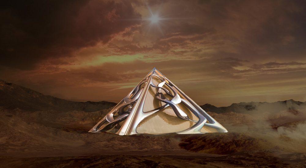 An artists rendering of a Pyramid. Shutterstock.