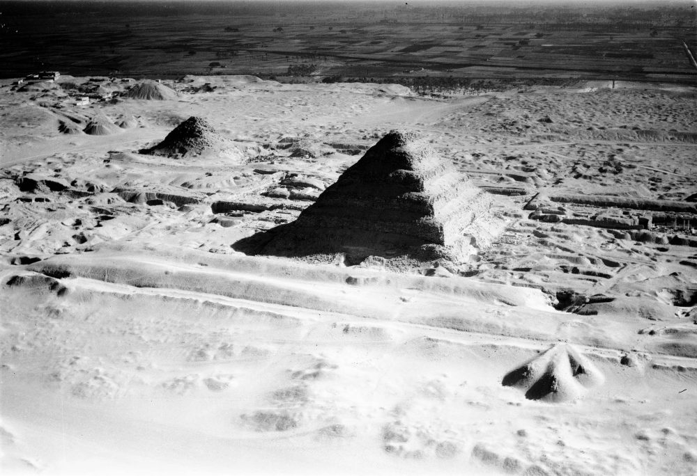 A rare aerial view of the Step Pyramid of Djoser. The Image was taken in January 24, 1938. Image Credit: UMW Libraries.