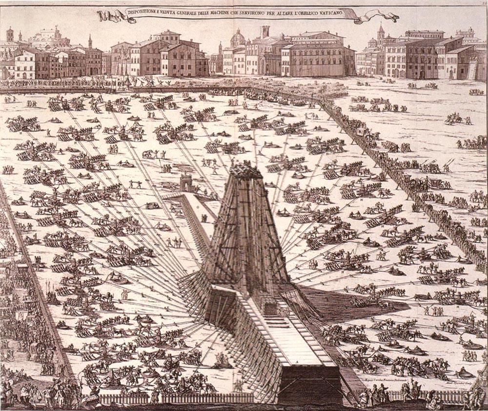Re-erection of the Vatican Obelisk by the Renaissance architect Domenico Fontana in 1586. Image Credit: Niccola Zabaglia / Wikimedia Commons.