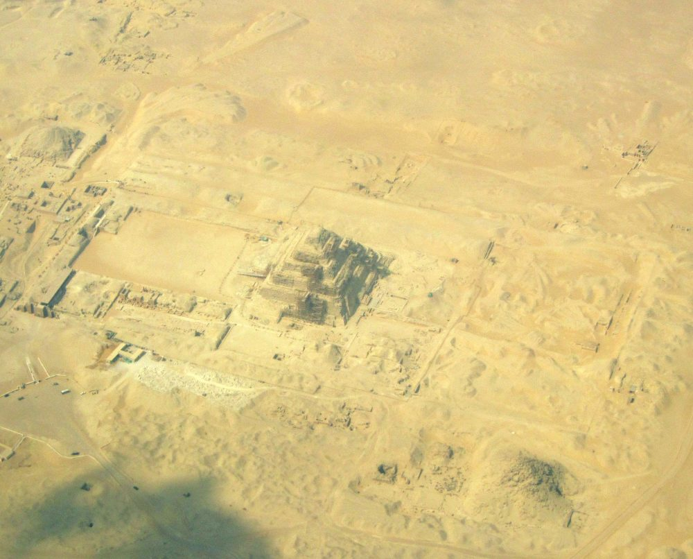 Aerial view showing Djoser's Step Pyramid. Image Credit: Wikimedia Commons.