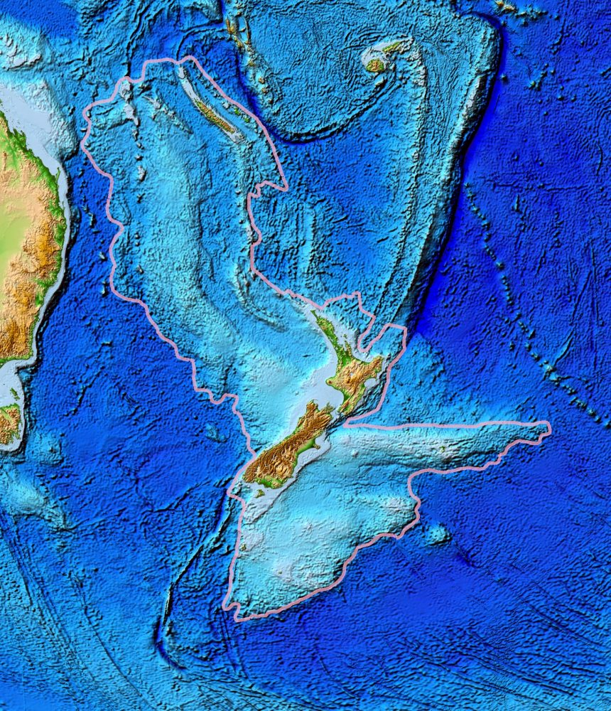 A map showing the topography of Zealandia. Image Credit: Wikimedia Commons / Public Domain.