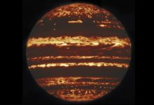 This image shows the entire dis of Jupiter in infrared. It was compiled from nine separate pointing by the International Gemini Observatory. Image Credit: (International Gemini Observatory/NOIRLab/NSF/AURA M.H. Wong & team/Mahdi Zamani).