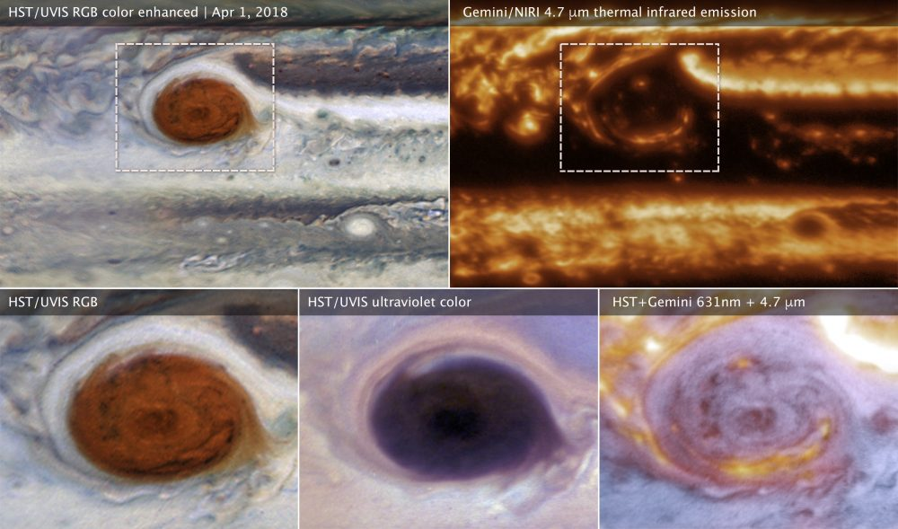 These images of Jupiter's Great Red Spot were made using data collected by the Hubble Space Telescope and the international Gemini Observatory on 1 April 2018. Image Credit: NASA, ESA, and M.H. Wong (UC Berkeley).