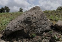An image of the stone map carved on the volcanic rock. Image Credit: INAH.