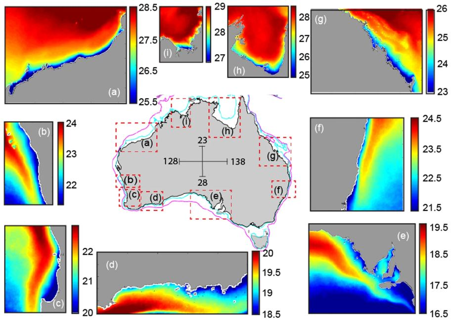 A map showing sea surface temperature. Seen here is data worth over 25 years of research. Image Credit: Nature.