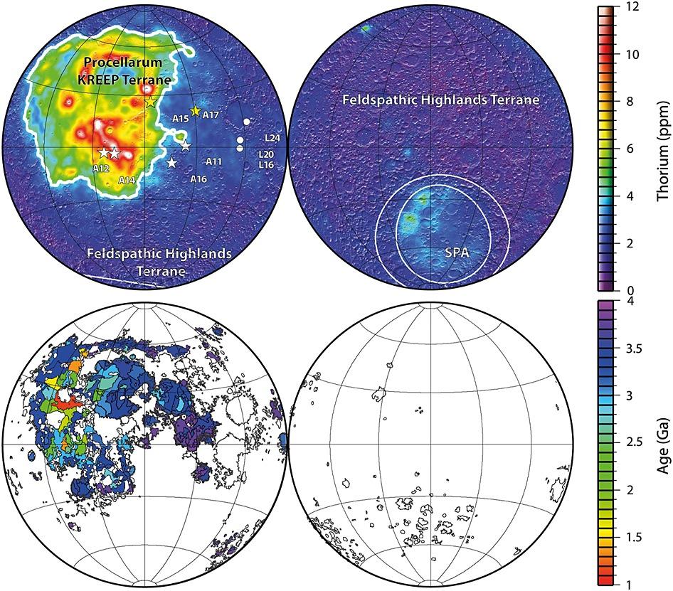 Lunar Prospector surface thorium concentrations of Lawrence et al. [2003]. Image Credit: AGU.