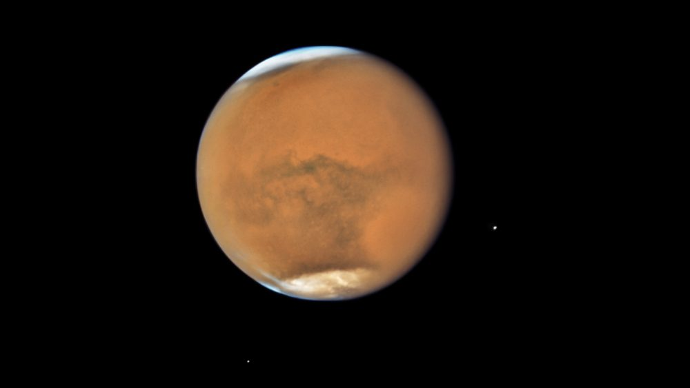Hubble's Close-up View of Mars Dust Storm. Image Credit: NASA, ESA, and STScI.