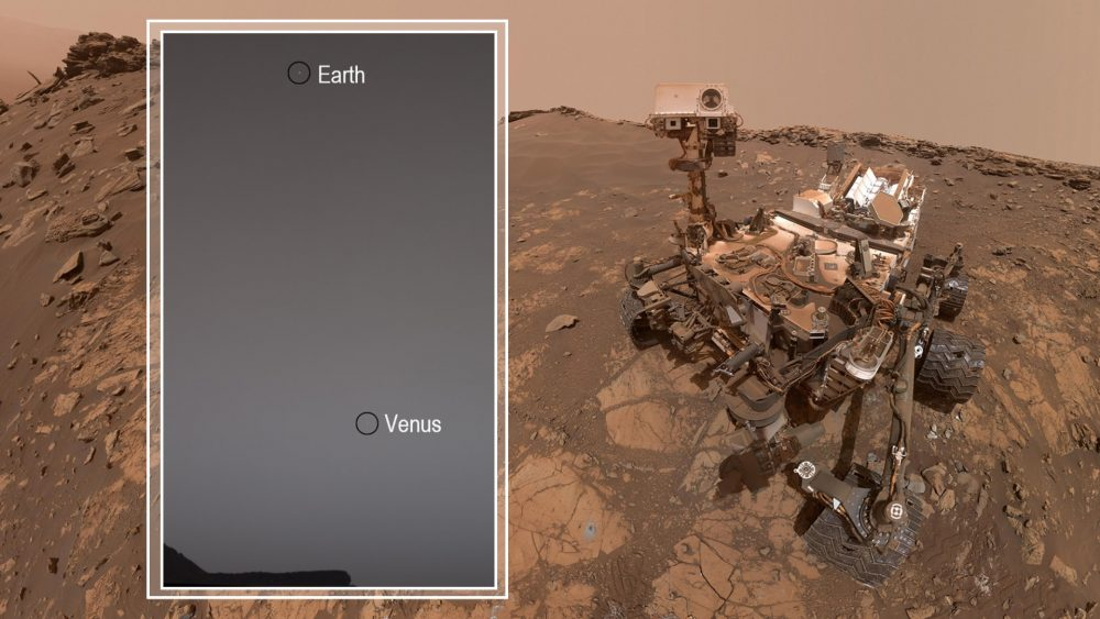 An image of the Curiosity Rover and Earth and Venus as seen from Mars. Image Credit: NASA.