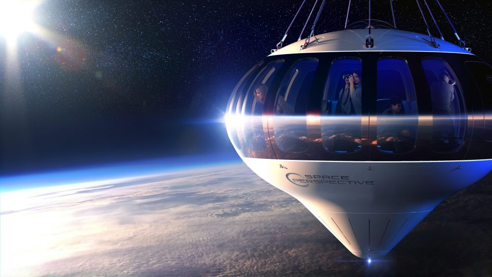 An artists rendering of the Neptune capsule and what future space tourists could see. Image Credit: Space Perspective.