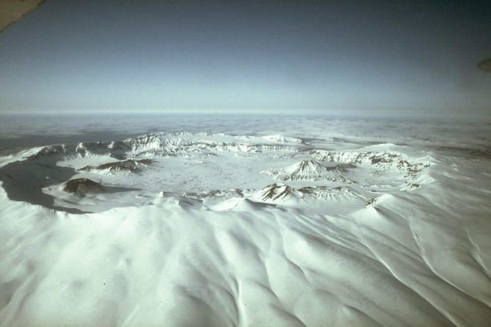 Aerial view looking across Okmok Caldera. Image Credit: Wikimedia Commons.