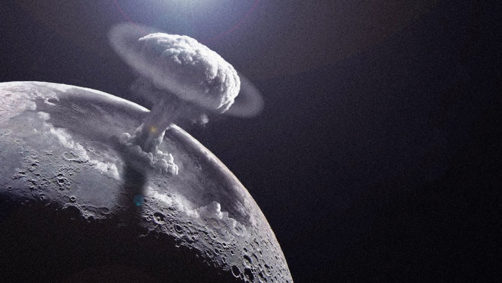 An artists's rendering of a Nuclear explosion on the Moon.