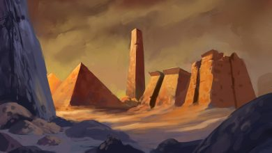 An artist's illustration of an ancient city, temple and pyramid. Shutterstock.
