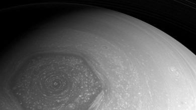 A view of Saturn's mysterious hexagon. Image Credit: NASA.