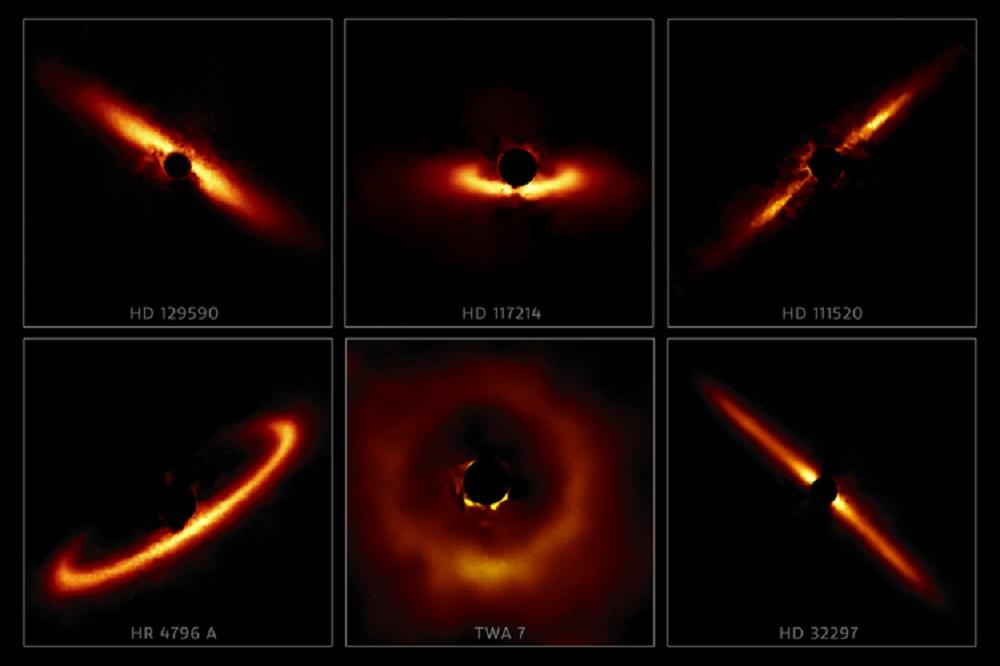 Six of the 26 circumstellar disks from the Gemini Planet Imager survey. Image Credit: International Gemini Observatory, NOIRLab, NSF, AURA and Tom Esposito, UC Berkeley.