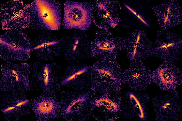 A collection of images showing dust rings around young stars. Image Credit: UC Berkeley image by Thomas Esposito.